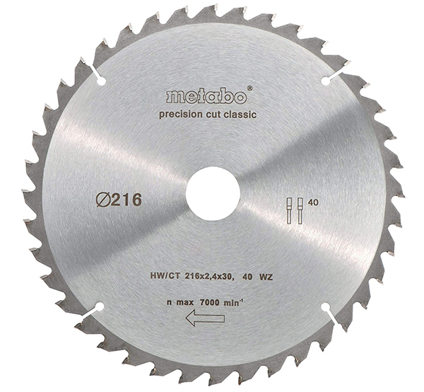 Metabo 628060000 HW CT 216 x 30 mm Lame pour scie