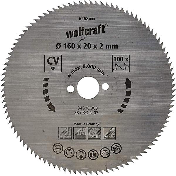 Test Wolfcraft 6268000 Lame scie circulaire CV 100Dts Diamètre 160 x 20 mm,argent